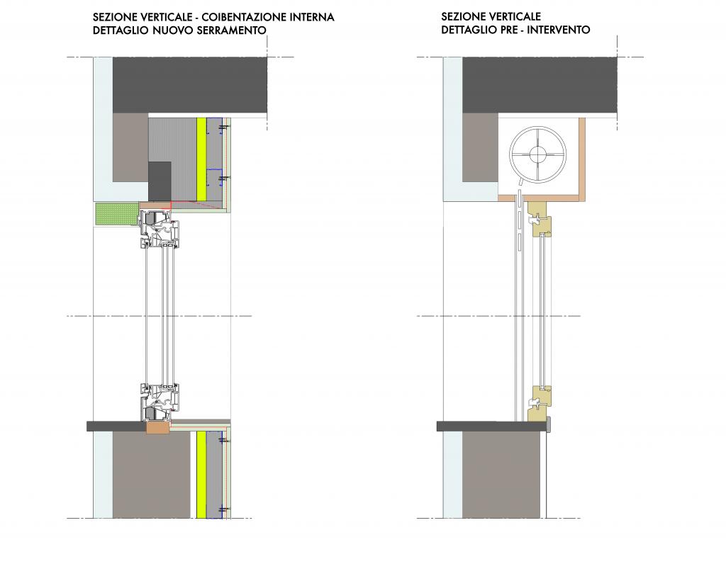 Sezione verticale raffronto parete riquaificata