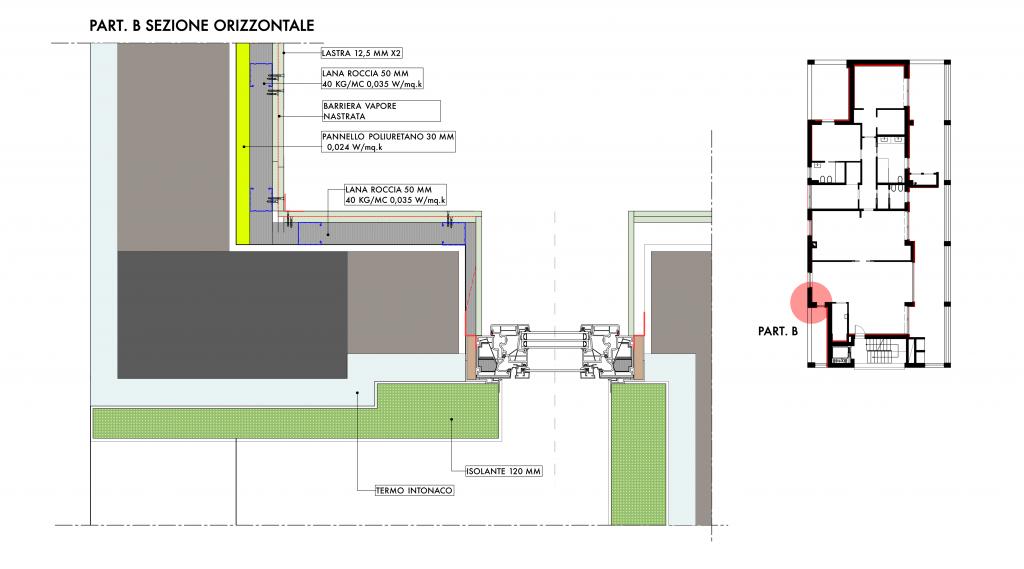 Dettaglio soluzione angolo isolamento pareti