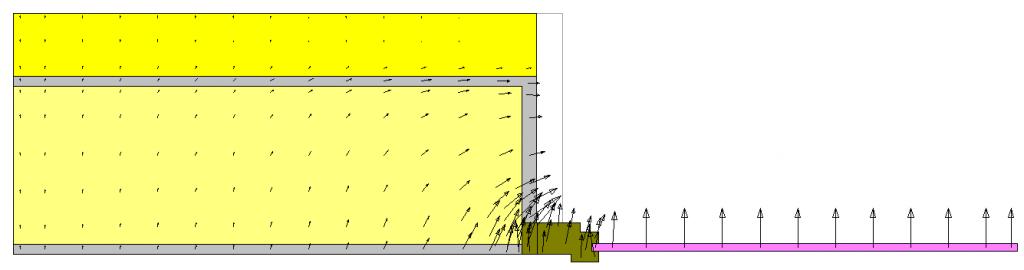 Rappresentazione vettori di flusso ponte termico parete serramento cappotto senza risvolto