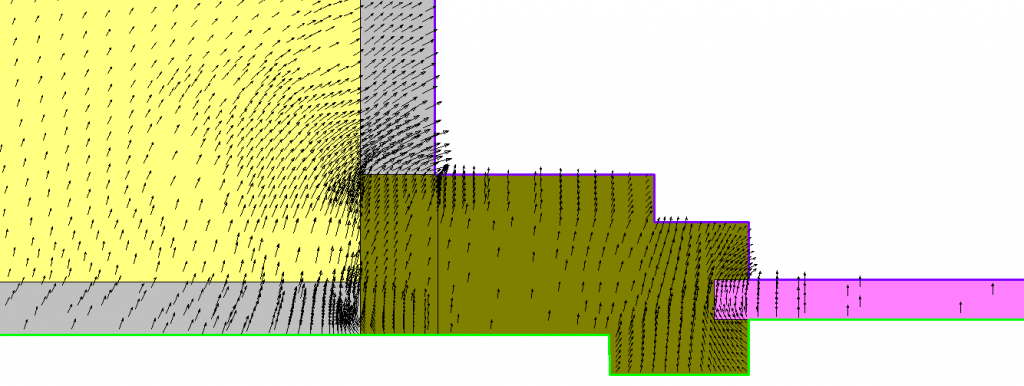Rappresentazione vettori di flusso ponte termico parete serramento (particolare)